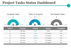 Project Tasks Status Dashboard Ppt PowerPoint Presentation File Graphics Download