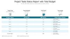 Project Tasks Status Report With Total Budget Formats PDF