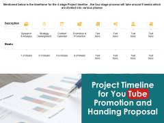 Project Timeline For You Tube Promotion And Handing Proposal Timeline Ppt PowerPoint Presentation Pictures Inspiration