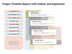 Project Timeline Report With Initiate And Implement Ppt PowerPoint Presentation Infographic Template Introduction PDF