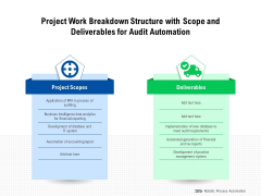 Project Work Breakdown Structure With Scope And Deliverables For Audit Automation Ppt PowerPoint Presentation Layouts Topics PDF