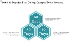 Promoting University Event 30 60 90 Days For Plan College Campus Event Proposal Download PDF