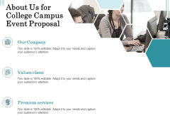 Promoting University Event About Us For College Campus Event Proposal Ppt Layouts Graphics Download PDF