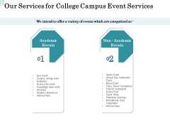 Promoting University Event Our Services For College Campus Event Services Ppt Layouts Brochure PDF