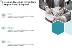 Promoting University Event Vision And Mission For College Campus Event Proposal Sample PDF