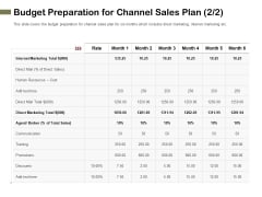 Promotional Channels And Action Plan For Increasing Revenues Budget Preparation For Channel Sales Plan Rules PDF