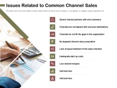 Promotional Channels And Action Plan For Increasing Revenues Issues Related To Common Channel Sales Infographics PDF