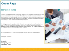 Promotional Services Cover Page Ppt Styles Slides PDF