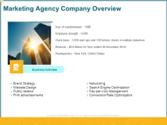 Promotional Services Marketing Agency Company Overview Ppt Gallery Tips PDF