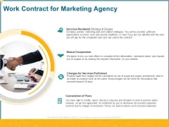 Promotional Services Work Contract For Marketing Agency Ppt Layouts Information PDF