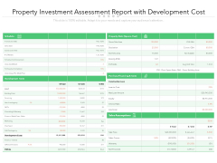 Property Investment Assessment Report With Development Cost Ppt PowerPoint Presentation Styles Portfolio PDF