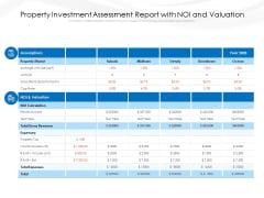 Property Investment Assessment Report With Noi And Valuation Ppt PowerPoint Presentation Infographic Template Introduction PDF