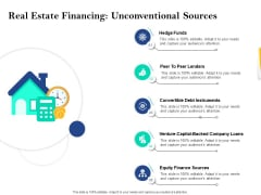 Property Investment Strategies Real Estate Financing Unconventional Sources Ppt PowerPoint Presentation Ideas Graphics PDF