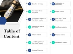 Property Investment Strategies Table Of Content Ppt PowerPoint Presentation Professional Picture PDF