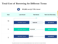 Property Investment Strategies Total Cost Of Borrowing For Different Terms Ppt PowerPoint Presentation Show Smartart PDF