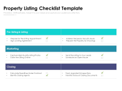 Property Listing Checklist Template Ppt PowerPoint Presentation File Inspiration PDF