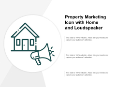 Property Marketing Icon With Home And Loudspeaker Ppt PowerPoint Presentation Example File