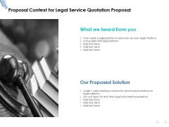 Proposal Context For Legal Service Quotation Proposal Ppt PowerPoint Presentation Slides Mockup