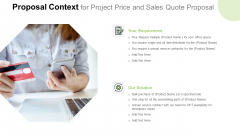 Proposal Context For Project Price And Sales Quote Proposal Template PDF