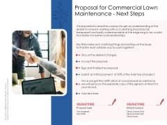 Proposal For Commercial Lawn Maintenance Next Steps Ppt Infographics Brochure PDF
