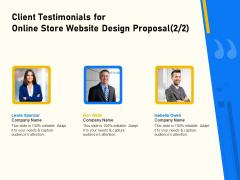 Proposal For Ecommerce Website Development Client Testimonials For Online Store Website Design Proposal Ideas PDF