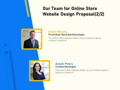 Proposal For Ecommerce Website Development Our Team For Online Store Website Design Proposal Introduction PDF
