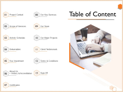 Proposal For Engineering Consultancy Services Table Of Content Ppt Templates PDF