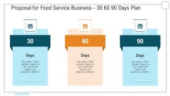 Proposal For Food Service Business 30 60 90 Days Plan Ppt Model Graphic Images PDF