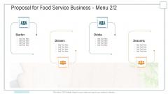 Proposal For Food Service Business Menu Ppt Slide PDF