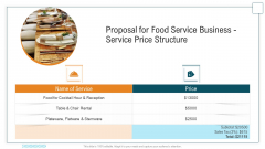 Proposal For Food Service Business Service Price Structure Ppt Layouts PDF