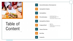 Proposal For Food Service Business Table Of Content Ppt Show Professional PDF
