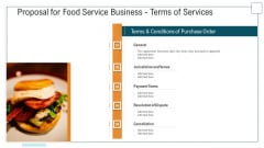 Proposal For Food Service Business Terms Of Services Ppt Icon Diagrams PDF