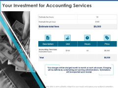 Proposal Template For Accounting Services Your Investment For Accounting Services Ppt Graphics PDF