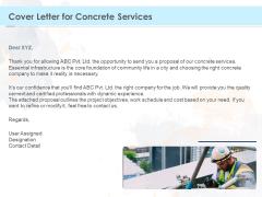Proposal Template For Concrete Supplier Service Cover Letter For Concrete Services Clipart PDF