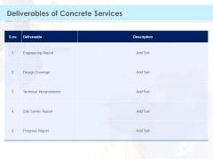 Proposal Template For Concrete Supplier Service Deliverables Of Concrete Services Microsoft PDF