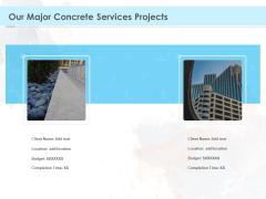 Proposal Template For Concrete Supplier Service Our Major Concrete Services Projects Elements PDF