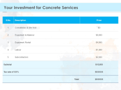 Proposal Template For Concrete Supplier Service Your Investment For Concrete Services Mockup PDF