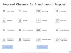 Proposal To Brand Company Professional Services Proposed Channels For Brand Launch Proposal Formats PDF