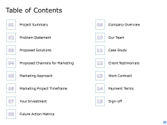 Proposal To Brand Company Professional Services Table Of Contents Mockup PDF