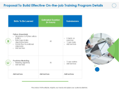 Proposal To Build Effective On The Job Training Program Details Ppt PowerPoint Presentation Professional Graphics PDF