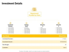 Proposal To Provide Financial Advisory And Bond Investment Details Diagrams PDF