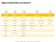 Proposal To Provide Financial Advisory And Bond Types Of Asset Class We Invest In Download PDF