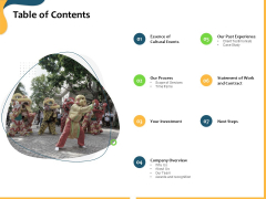 Proposal To Transform Culture With Company Events Table Of Contents Ppt Infographic Template Deck PDF