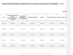Proposed Models Equipment Purchase Proposal Cost Ppt Styles Layout PDF