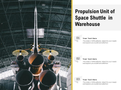 Propulsion Unit Of Space Shuttle In Warehouse Ppt PowerPoint Presentation Gallery Elements PDF