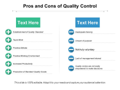 Pros And Cons Of Quality Control Ppt PowerPoint Presentation Ideas Show PDF
