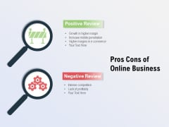 Pros Cons Of Online Business Ppt PowerPoint Presentation Summary Graphics Example