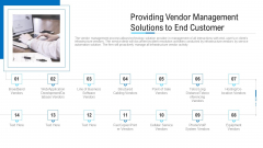 Providing Vendor Management Solutions To End Customer Ppt Pictures Graphics Template PDF