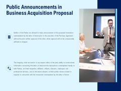 Public Announcements In Business Acquisition Proposal Ppt PowerPoint Presentation Show Slideshow