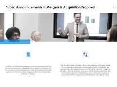 Public Announcements In Mergers And Acquisition Proposal Ppt PowerPoint Presentation Ideas Samples